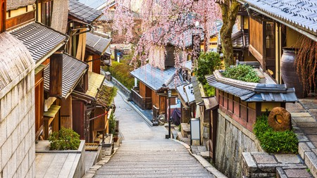 Spring is a great time to visit Higashiyama district in Kyoto, Japan