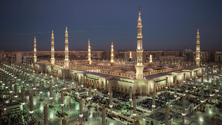 Many of Medina's hotels are close to and offer views of the Prophet's Mosque