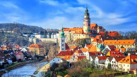 Red tile roofs of the Český Krumlov old town