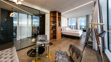 Enjoy the views and stylish decor at Tower Suites in Reykjavík, Iceland