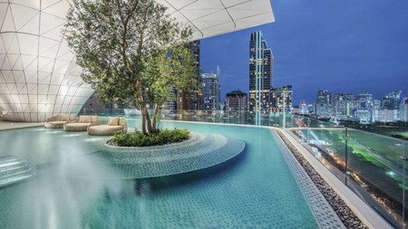 An open-air pool on the 16th floor is a refreshing vantage point