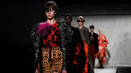 Dries Van Noten became famous for his expertise in mixing Eastern and Western styles; shown here is his Paris Fashion Week show from 2019