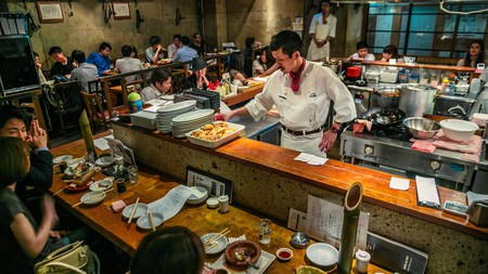 Note the placement of chopsticks by diners at 35 steps Bistro Restaurant, Izakaya, Shibuya, Tokyo