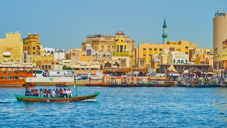 Hop on a traditional abra (water taxi) on Dubai Creek for a sightseeing tour of Bur Dubai's busy waterway