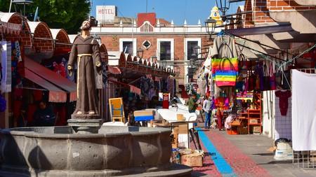 Visit El Parián Market in the historic center of Puebla, Mexico