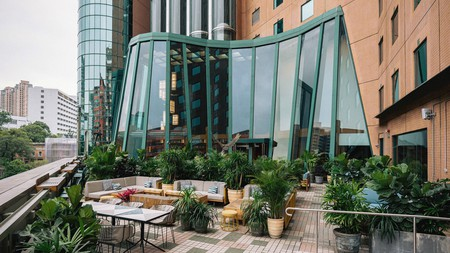 Enjoy views from the terrace at the Eaton HK, on Kowloonside