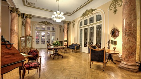 The gorgeous interiors of the Grand Boutique Hotel transport you back in time to 19th-century Bucharest