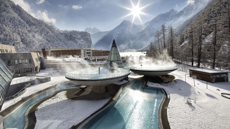 The space-age look comes to Switzerland via the steaming thermal basins of the Aqua Dome in the Ötztal valley