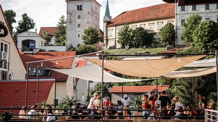 The open-air bar of the popular five-floor Chillout Hostel, one of many serving backpackers and travellers in Zagreb