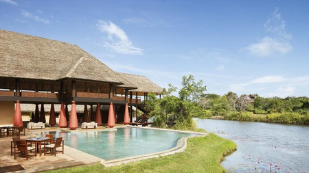 The pool at the Jetwing Vil Uyana feels like it's part of the natural environment