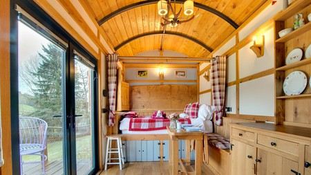 Stay in a cosy shepherd's hut at the Flying Scotsman in Crai Valley, Wales
