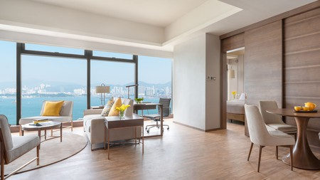 Enjoy stunning views from rooms with large windows at the Island Pacific Hotel in Hong Kong
