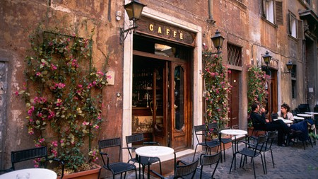 A typically Roman small courtyard cafe in Piazza Santa Maria della Pace, Rome