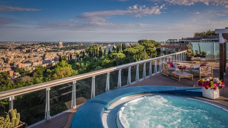 Take a dip in a bubble tub at Rome Cavalieri for views over the Eternal City