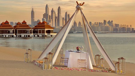 The Anantara boasts a private shoreline and the only floating water villas in the UAE