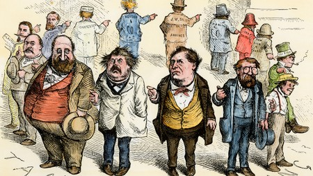This Thomas Nast cartoon, dated 1871, lampoons the Tammany Hall corruption case in the USA