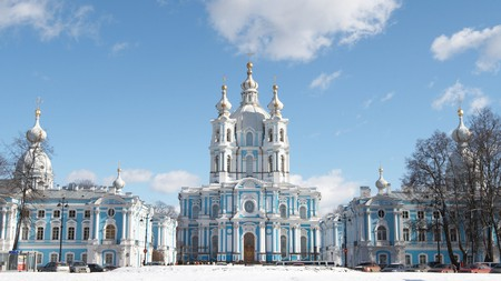 Smolny Cathedral is a confection in blue and white