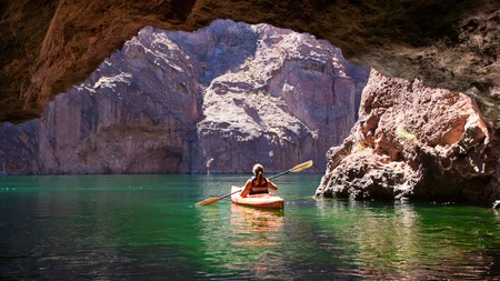 There are many ways to experience the slower side of the Las Vegas area, such as kayaking on the Colorado River