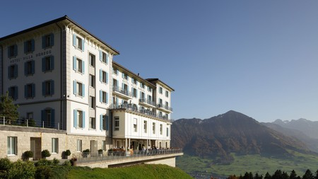 Hotel Villa Honegg sits high in the mountains overlooking Lake Lucerne