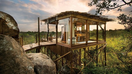 Enjoy a special stay in an open-air treehouse at the Lion Sands River Lodge in South Africa