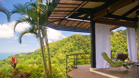 The views from Rancho Pacifico in Costa Rica take in both lush mountain slopes and glittering seas