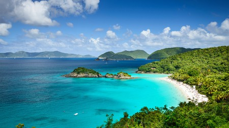 A majestic view of Trunk Bay on the island of St John, in the Virgin Islands National Park