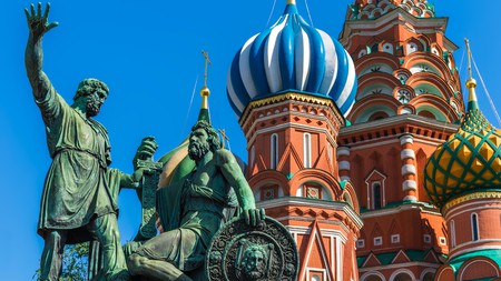 Statue of Kuzma Minin and Dmitry Pozharsky in front of St Basil's Cathedral
