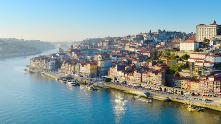 An aerial view of the city of Porto in the north of Portugal, which is famous for its fortified wines