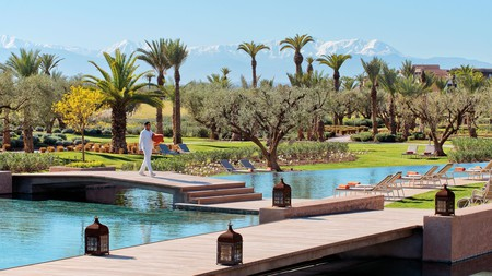 The Fairmont Royal Palm Marrakech offers luxury amenities in view of the Atlas Mountains