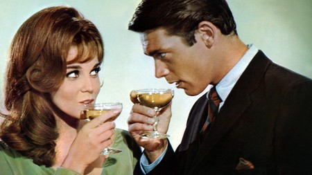 Cocktail hour with Ann-Margret and Louis Jordan in the film Made in Paris, 1966.