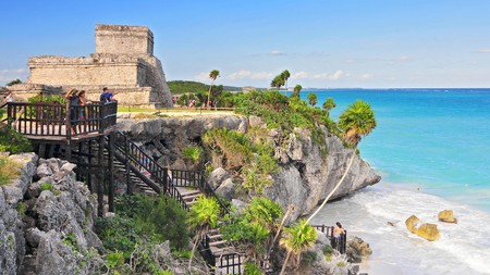 The ancient Mayan walled city of Tulum on the Caribbean coast once served as a major port for Coba, whose ruins are one of the highlights of Yucatan.