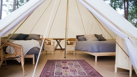 If an uncomfortable night sleeping on a tent floor doesn't sound like your idea of a vacation, then try glamping at Fossil Beach Farm