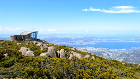 View over Hobart from the Lookout on top of Mount Wellington