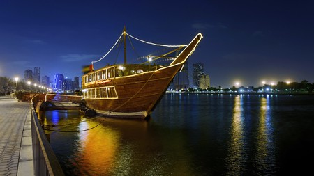 The Sharjah Dhow Restaurant has a unique location on a dhow boat and serves Middle Eastern delicacies