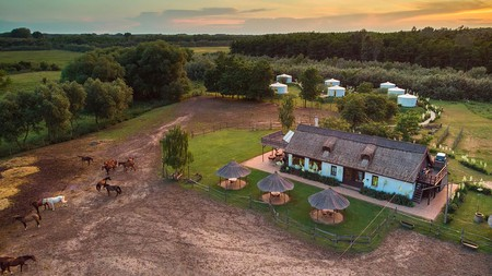Hungary has plenty of options when it comes to sleeping out in nature, like Homoki Lodge's yurts with all the mod cons