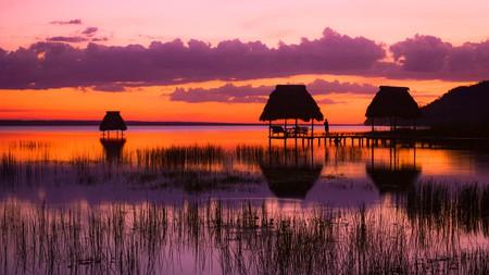 Sunset at the lake Peten Itza in Guatemala
