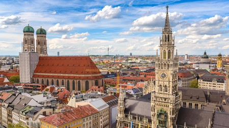 The city skyline at Marienplatz new town hall in Munich, Germany.