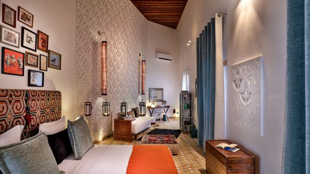 Stay in one of the large, luxurious suites at the Karawan Riad in Fez, Morocco