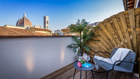 Views from the roof terrace of the Palazzo dei Conti residenza d'Epoca, overlooking the Duomo in the heart of Florence.
