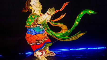 A colourful lantern decoration at Cheonggyecheon Stream during the Lotus Lantern Festival in Seoul Korea