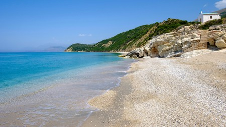 A beach near Lukova in Vlora county, on the Albanian Riviera