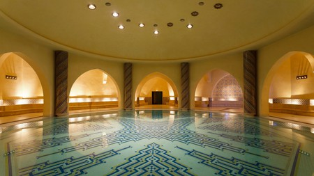 The incredible Mosque of Hassan II features a hammam in its basement