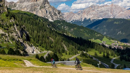 Cycling along the Gardena Pass in the Dolomites is a mountain biker's dream