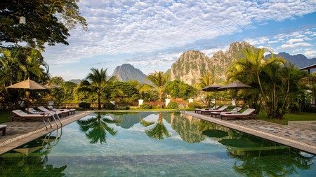 Riverside Boutique Resort offers sweeping views across the charming town of Vang Vieng