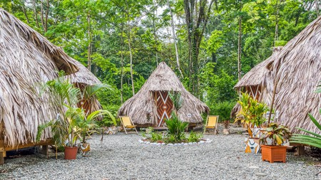 The cool beach huts of Selina Puerto Viejo, which also has a swimming pool, restaurant and live music
