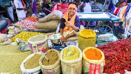 Indian cuisine is known for its bold spices, and this market in Madhya Pradesh is a colourful sight
