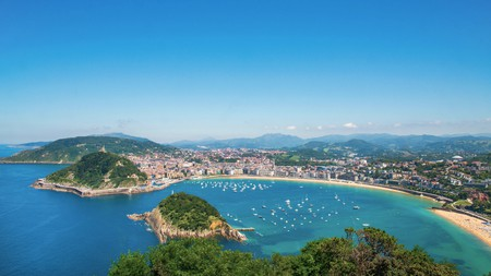 Admire stunning views from the three Michelin-starred Akelaŕe restaurant which is located on Monte Igueldo, San Sebastian, Spain