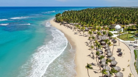 The tropical beach of Excellence Punta Cana, an adults-only resort on the Dominican Republic's northeast coast
