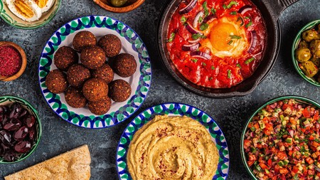 Israeli vegetarian dishes such as falafel, hummus and shakshuka are healthy and delicious