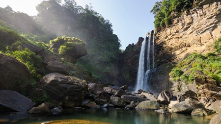 As beautiful as it is useful, Laxapana Falls doubles as a local power source
